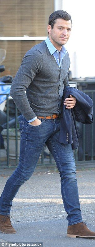 Mr suave: Mark Wright left the ITV studios earlier today looking very smart and tidy
