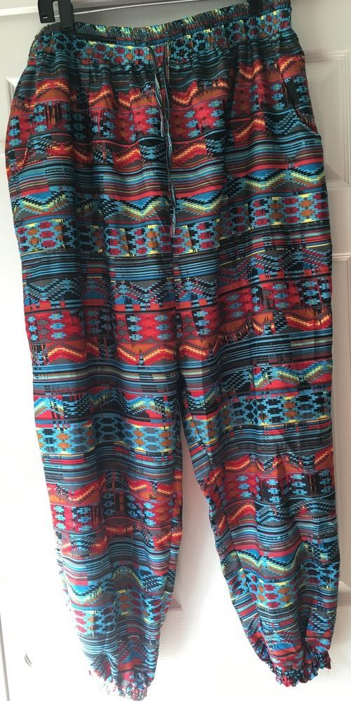 Envy Me 2X Jogger Pants Multi-Color Tribal Aztec Print Smocked Waist Plus #EnvyMe #Joggers #Casual