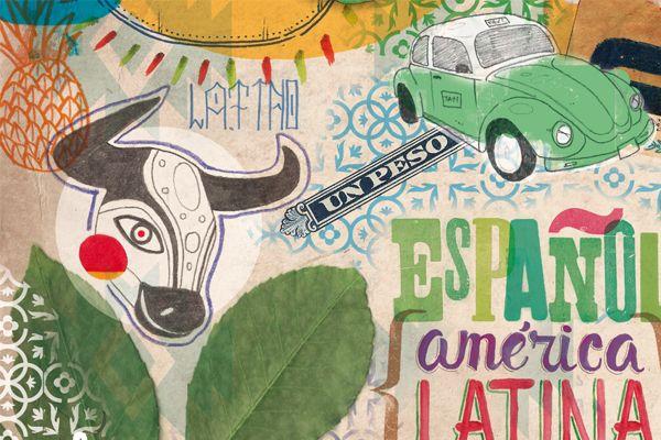Poster, afiche, america latina, colores Latin American Spanish by Samuel Castaño, via Behance