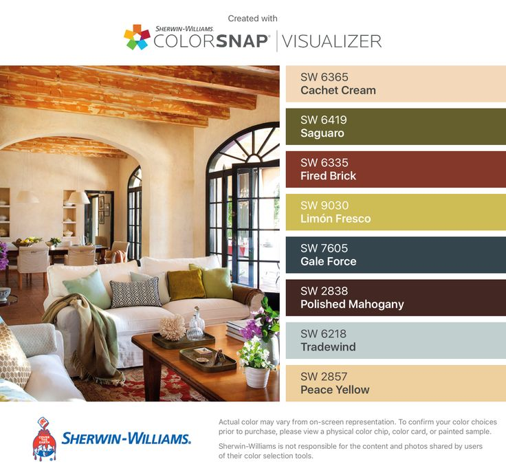 I found these colors with ColorSnap® Visualizer for iPhone by Sherwin-Williams: Cachet Cream (SW 6365), Saguaro (SW 6419), Fired Brick (SW 6335), Limón Fresco (SW 9030), Gale Force (SW 7605), Polished Mahogany (SW 2838), Tradewind (SW 6218), Peace Yellow (SW 2857).