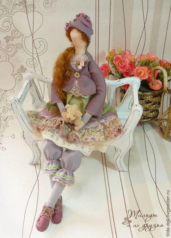Купить Кукла Тильда: Манюня (тильда бохо) - лавандовый, сиреневый, тильда, кукла…