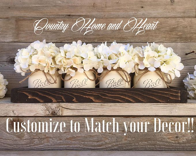 Mason Jar Decor, Mason Jar Centerpiece, Tray with Mason Jars, Coffee Table Centerpiece, Table Decor, Rustic, Home Decor, Country, Farmhouse