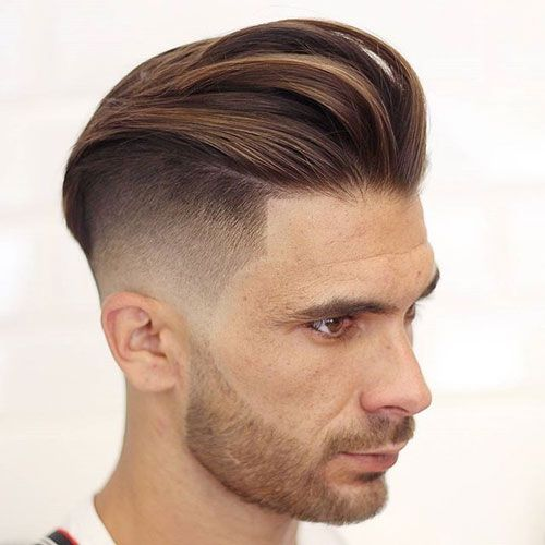Long Textured Slicked Back Hair + Undercut Fade