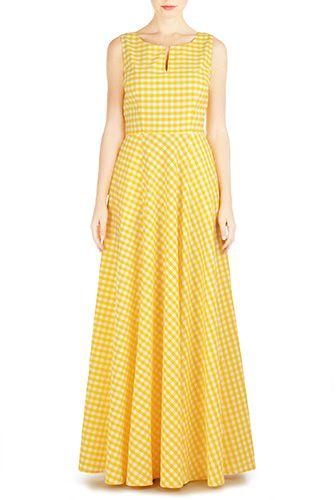 Gingham check cotton maxi dress