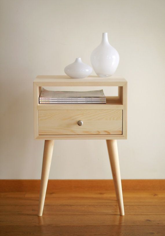 Bedside Table with drawer Mid Century Modern Furniture by ALiusy