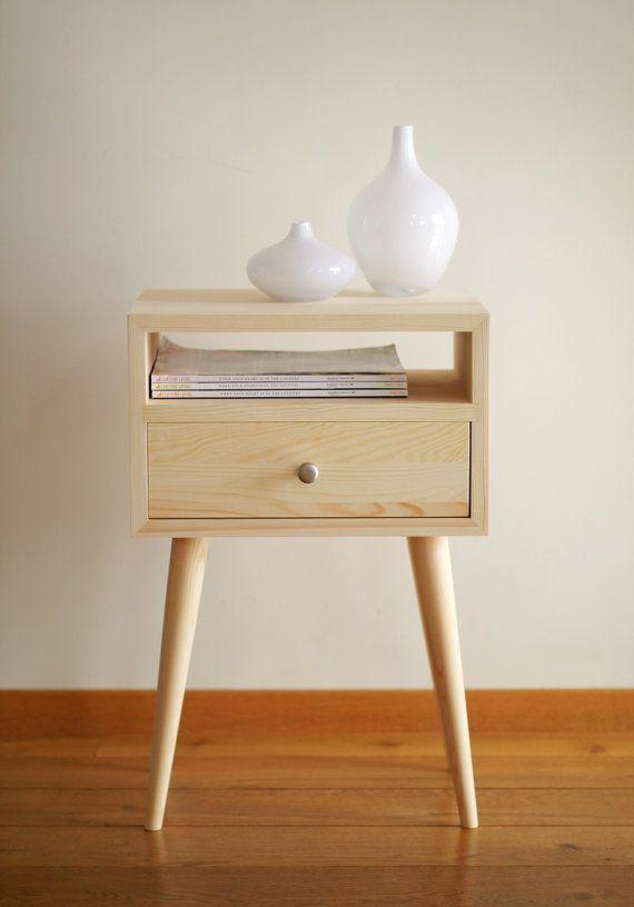 Mesita de noche con cajón mediados siglo moderno muebles