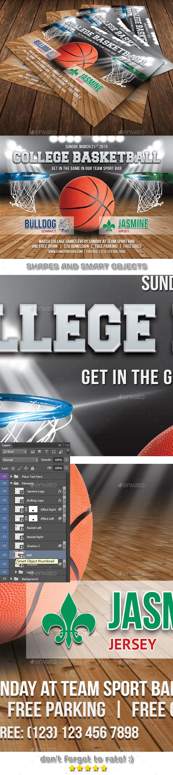 College Basketball Game Flyer Template 62 by 21min -