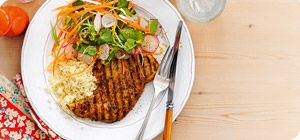 Orange adds a zesty note to the Asian flavours in this fabulous turkey marinade, and the amazing salad bursts with goodness.