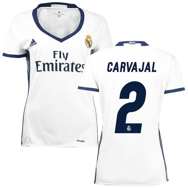 Carvajal Real Madrid adidas Women's 2016/17 Home Replica Jersey - White - $56.99
