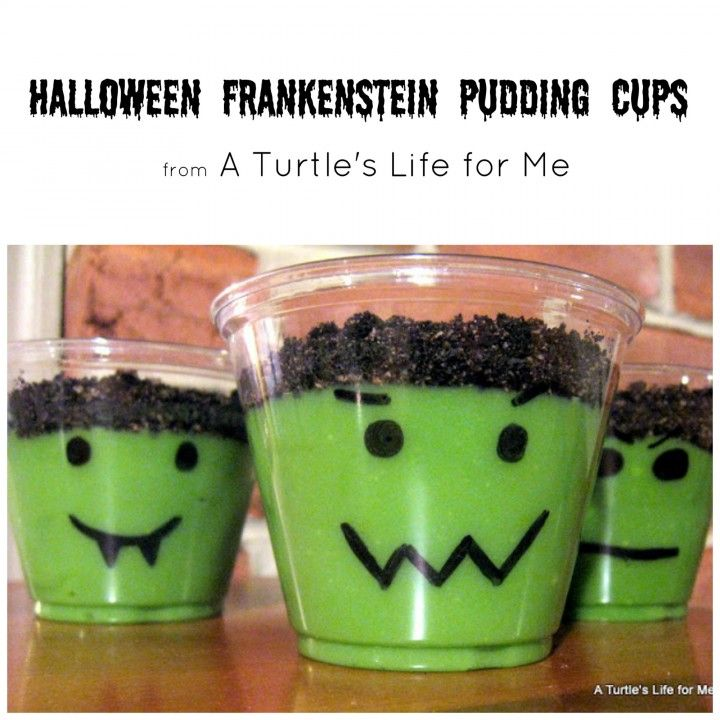 halloween frankenstein pudding cups turtles life for me