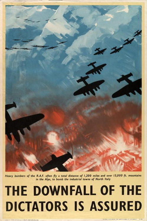 "British WWII propaganda poster depicting the RAF on a night raid, with the slogan ""The downfall of the dictators is assured"""