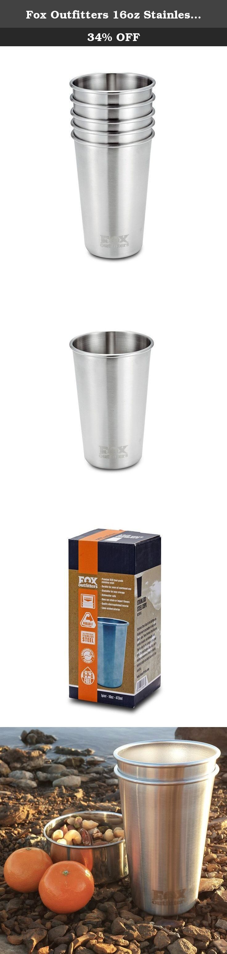 Fox Outfitters 16oz Stainless Steel Pint Cups (Pack of 5). Perfect for a drink of water, juice, iced coffee, beer, smoothies, milk or any other beverage, Fox Outfitters 16 oz Stainless Steel pint cups are the favored multi-use cup for any occasion. Forget those wasteful red plastic cups. Grab your stainless steel cups the next time you head out for a picnic, concert, BBQ, beach trip or just have friend over for dinner. With a stackable design, these cups are easy to toss into your…
