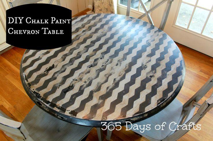 diy shape tape chevron table with chalk paint || Niki Meiners || www.365daysofcrafts.com