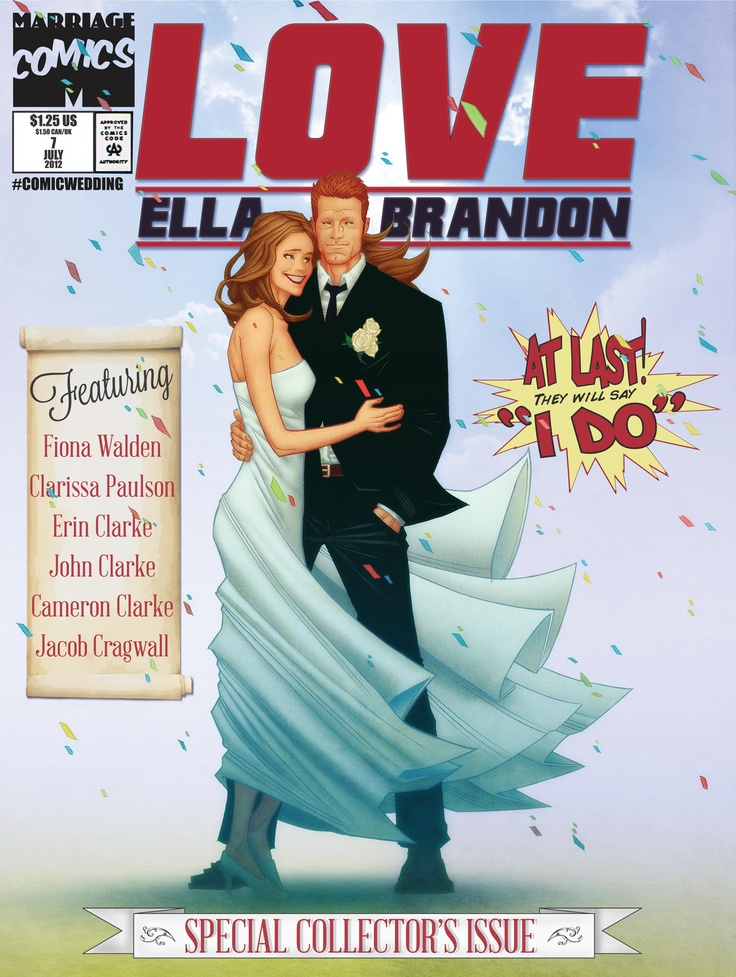 The cover image for the wedding programs. Illustration by Tradd Moore, colors by Derek Dow, layout and lettering by Brandon Clarke