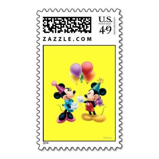 Mickey Mouse and Minnie Birthday Postage Stamp. It is really great to make each letter a special delivery! Add a unique touch to invites or cards with your own photos or text. Just click the image to learn more!