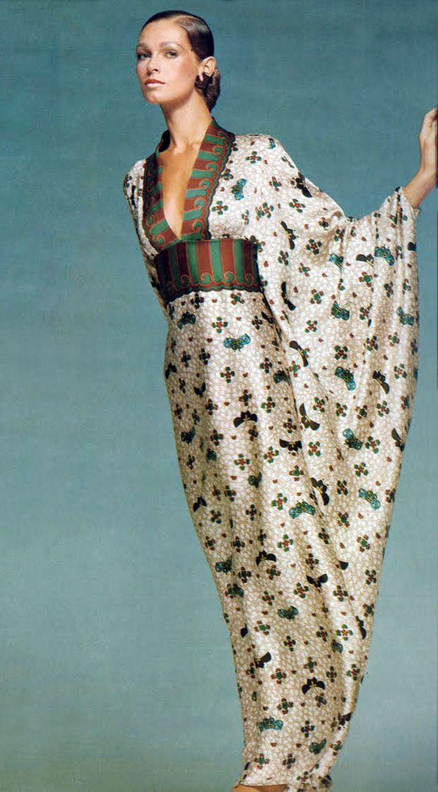 By Bailey Vogue Italia 1970 kimono evening dress gown white floral print band belt early 70s vintage fashion formal long model magazine print ad