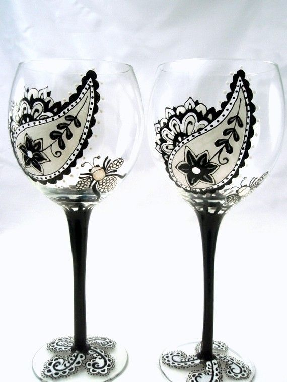 Custom Black and White Paisley/Damask Wine Glasses - Can be Personalized - Wedding Gift. $40.00, via Etsy.