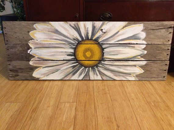 Reclaimed Wood Art sunflower sign custom by HippieHoundUSA on Etsy