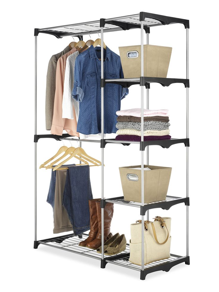 Double Rod Freestanding Closet With Steel And Resin Frame