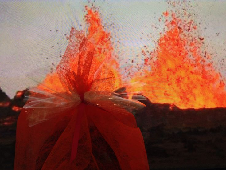 Volcano eruption in Iceland and a wrapped gift.