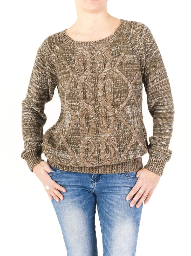 Jersey de mujer con cuello redondo y dibujo estampado. Práctico e informal, fácil de llevar este invierno. Cómpralo ahora y combina los 4 colores.