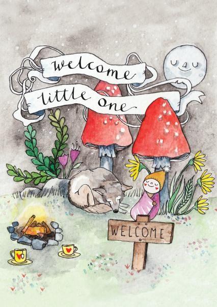 New baby Wonderland card by Heidi Burton - click through to buy in UK via Thortful.com #newbaby #watercolor #watercolour #mushrooms #illustration #aliceinwonderland #calligraphy #handdrawntype #welcome #baby #babyboy #babygirl #babyshowergift #newborn #newborncard #botanicalillustration