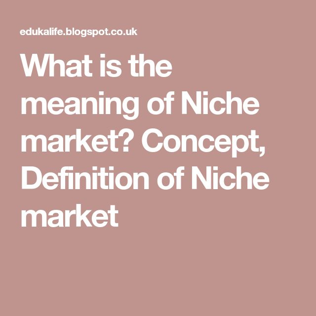 What is the meaning of Niche market? Concept, Definition of Niche market