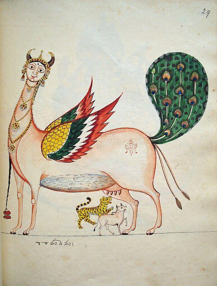 Kamadhenu, the wish-fulfilling cow, who suckles Śiva's bull Nandi and the Devi's tiger. [1830]