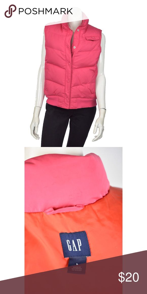 💕GAP💕 Pink Puffy Vest Ladies Small Gap pink puffer vest orange lining  Very good, clean condition, with no apparent defects or wear.  Looks NEW GAP Pink Down Fill Puffer PUFFY VEST  Orange Lining & Snap Closures,  Women's size Small.   Warm bright pink puffy vest.   7 snap closures up the front,  1 snap closure on flap of pocket.   2 slash pockets  Made of 100% Polyester (shell & lining), with Down filler with minimum 75% down.  Machine wash cold, tumble dry low. GAP Jackets & Coats Vests