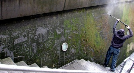 Sefaan de Croock carves moss off rocks with water to make art. Mad? Absolutely! Genius? Of course!: Mossy Wall, Moss Art, Moss Graffiti, Street Art, Pressure Wash, Art Center, Art Installations, De Croock, Streetart
