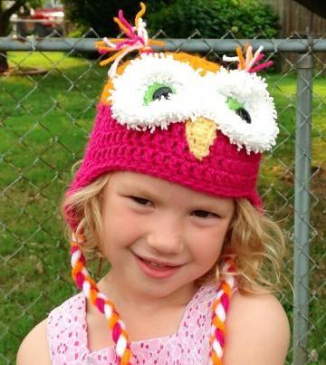 Hat, #OwlAnimalhat, crochet owl hat, pink, orange, childs by #OnceUponARoll #Zibbetflash for $21.00