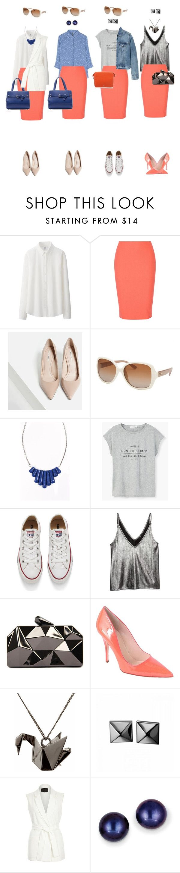 """Coral pencil skirt"" by rara-nataliya ❤ liked on Polyvore featuring Uniqlo, Elizabeth and James, Zara, Salvatore Ferragamo, Heroldian Jewellery, MANGO, Converse, H&M, WithChic and Kate Spade"