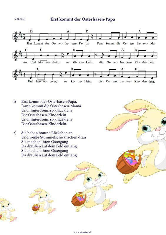 """""""Erst kommt der Osterhasen-Papa"""" - nach der bekannten Sonnenkäfemelodie - Download auf: www.kitakiste.jim..."""