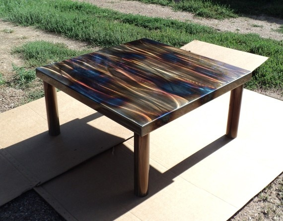 Steel Coffee Table Caramel Browns with Clouds of Violet and Blue by Coresthetic: Steel Coffee, Clouds, Coresthet, Coffee Tables, Parks Benches, Tables Caramel, Memorial Tables, Caramel Brown, The Heat
