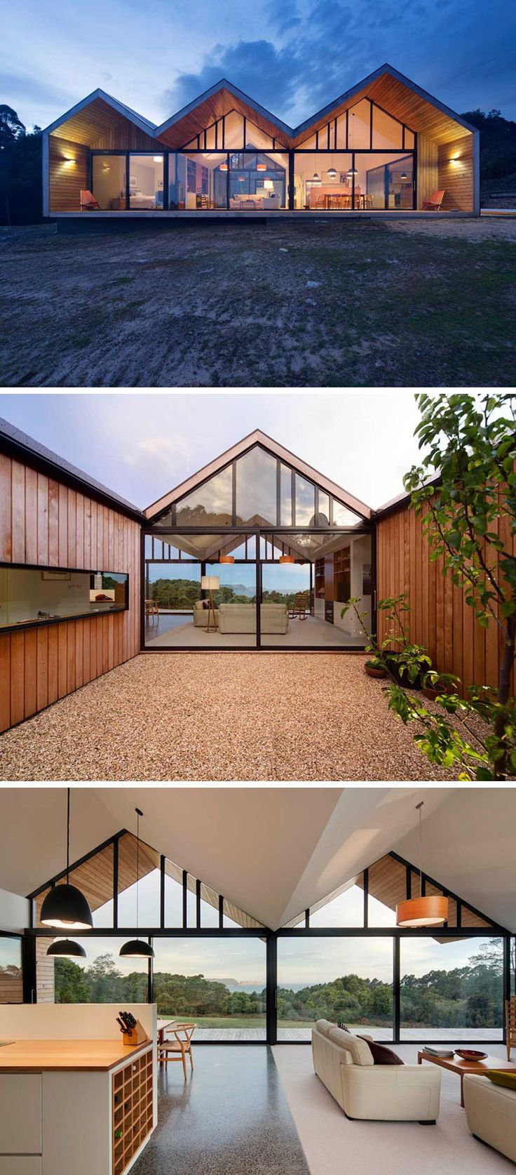 15 Examples Of Homes Where Windows Follow The Roofline // The upper windows of this Australian home follow the lines of the roof and let more light shine into the parts of the home where the family spends most of their time, helping keep the space bright at all times of the day.