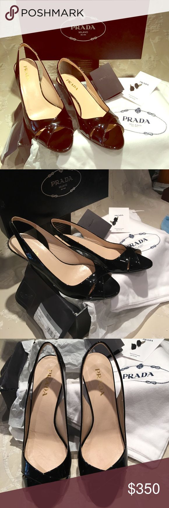 prada black patent classic slingback heels like brand new worn once for a few hours