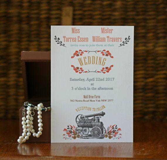 Rustic Vintage Wedding Invitation, Steam Punk Wedding Invitation, Water color flowers with Vintage Steam Train