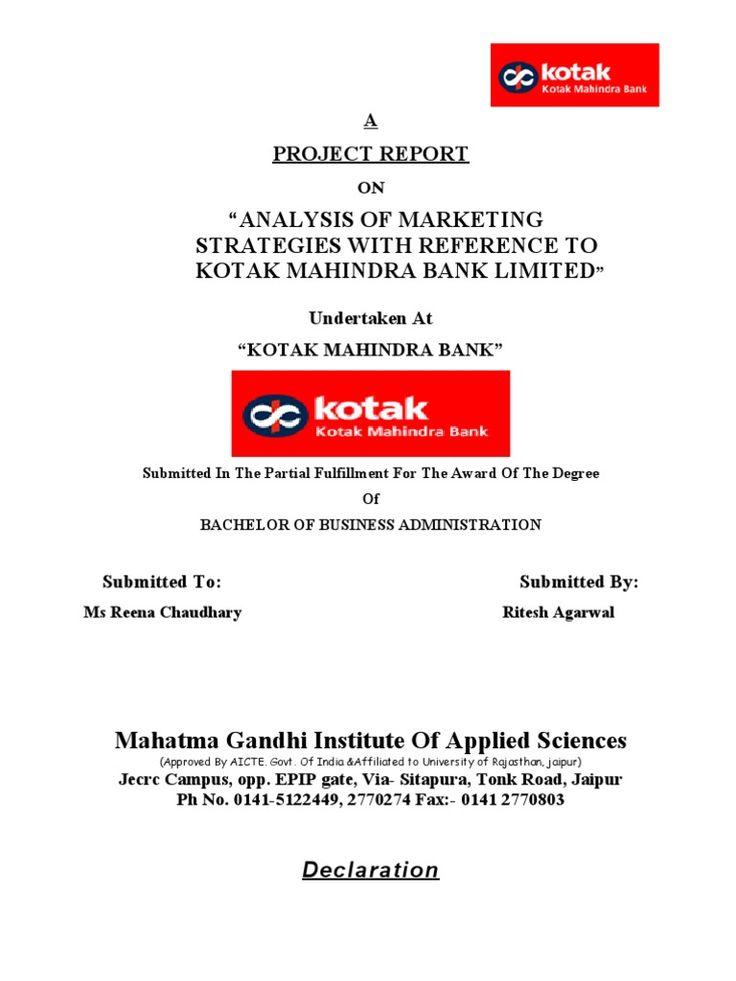 Project Report Kotak Mahindra Bank Transaction Account Online