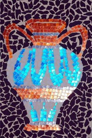 Greek mosaic art project - can use glass, paper, or beans