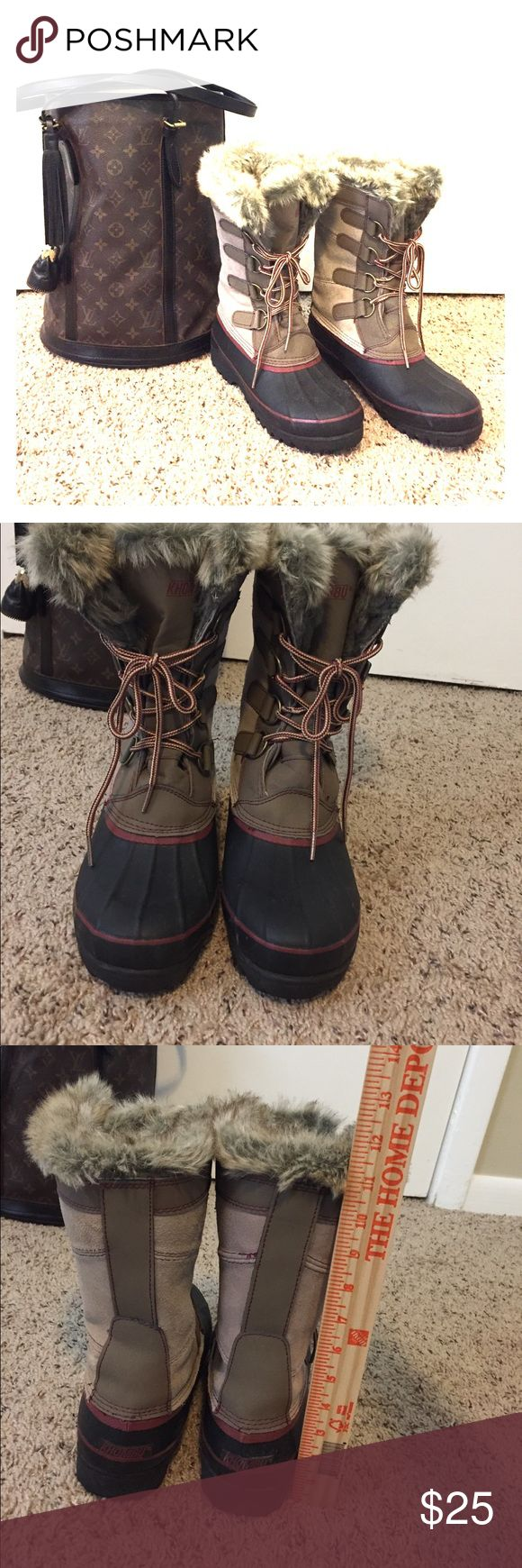 Like new WINTER boots Taupe suede shaft, black rubber duck toe design , Maroon accent thread &  rubber trims. Used one time for a few hours. No box Khombu Shoes Winter & Rain Boots