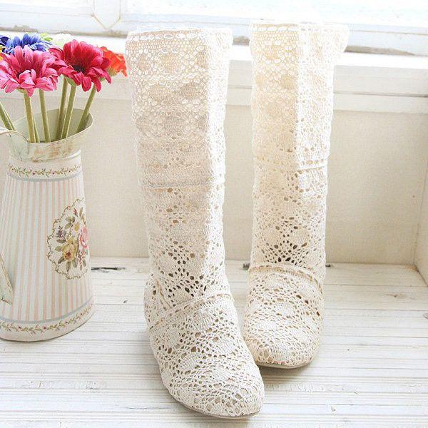 Big Size Lace Mid Calf Slip On Elegant Wedge Heel Boots