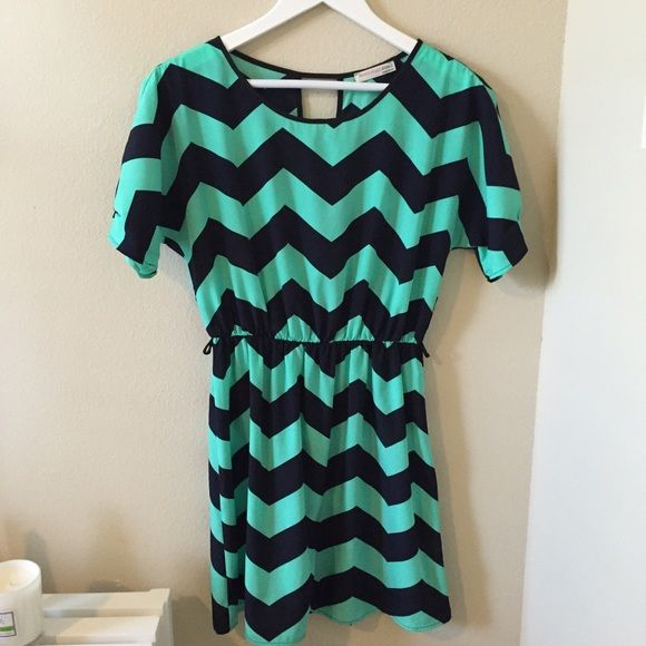 Mint/Navy Chevron Dress This mint and navy chevron dress is so light and comfy perfect for for anytime of the year!   Size small  100 polyester  Also come with a light mint belt  Brand new! a'gaci Dresses