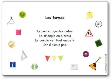 Comptine Les formes (Le carré a quatre côtés...)                                                                                                                                                                                 Plus