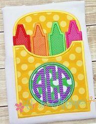 Monogram Crayon Box Applique - 4 Sizes! | What's New | Machine Embroidery Designs | SWAKembroidery.com Creative Appliques