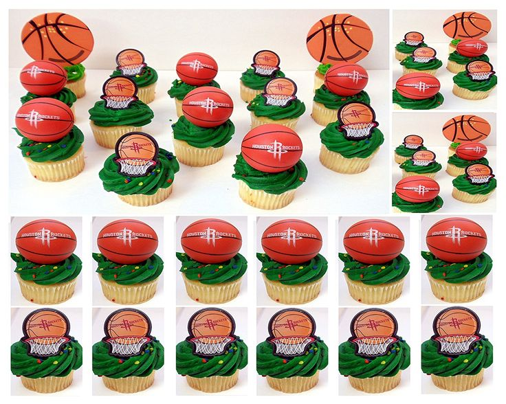 HOUSTON ROCKETS 14 Piece NBA Basketball Birthday Party Cupcake Topper Set - Includes All Cupcake Toppers and Accessories Shown in Photo * Additional details at the pin image, click it @