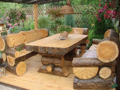 log bench | log picnic table & benches | cottage