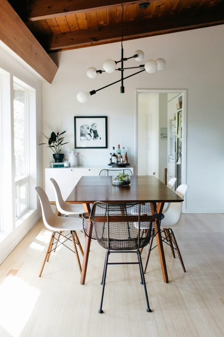 Interior designer Courtney Nye updated a dark midcentury house in Portland, Oregon with new lighting and a mix of low-cost and locally made furnishings.