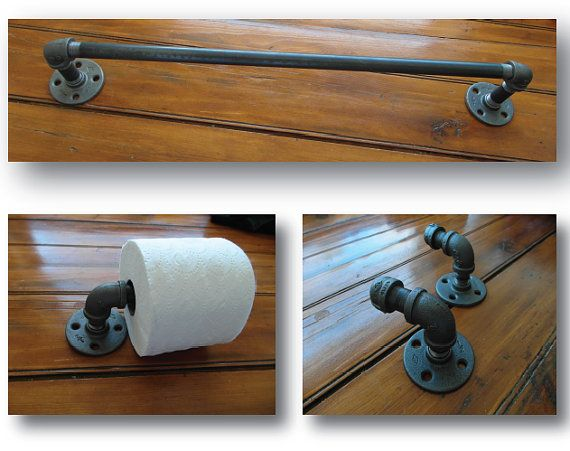"VILLAGEARTANDFRAMING | Set of 4 bathroom industrial pipe fittings, towel rack (24""), toilet paper holder, and 2 hooks, pipeworks iron & steel, steampunk look"
