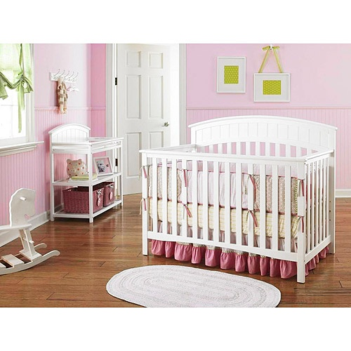 Graco Charleston 4 In 1 Crib With Mattress Dressing Table Bundle White Nursery Furniture