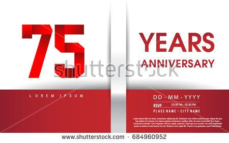 75th Years Anniversary celebration logo, flat design isolated on red and white background, vector elements for banner, invitation card and birthday party.